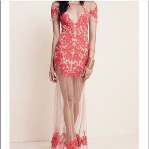 New For Love Lemons XS Red Lace Luau Maxi Dress